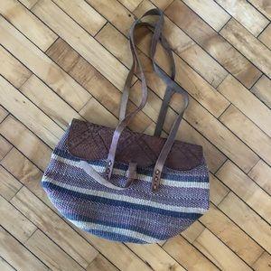 Vtg 70s Tooled Leather Sisal Market Shoulder Bag